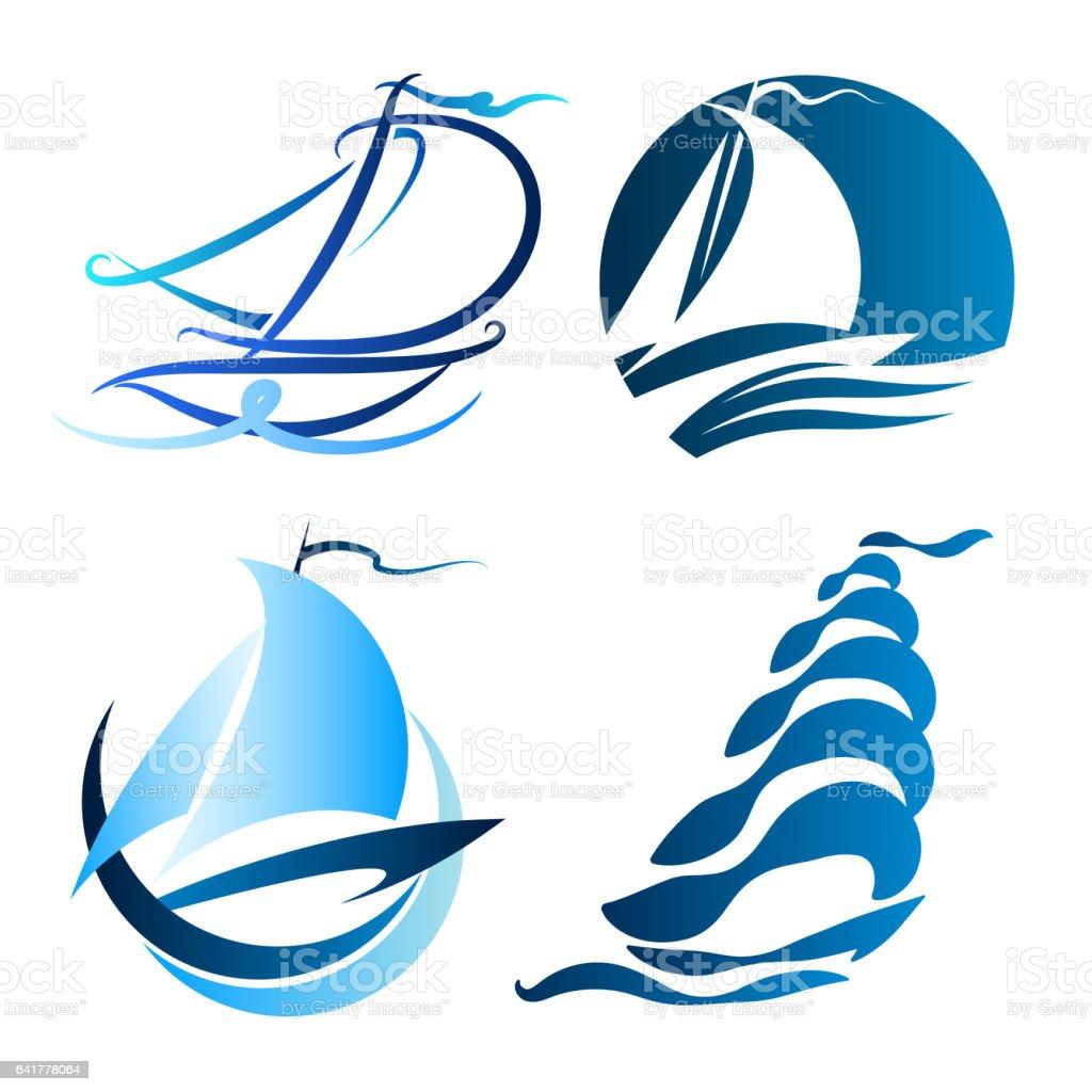 Sailboat symbol set vector art illustration