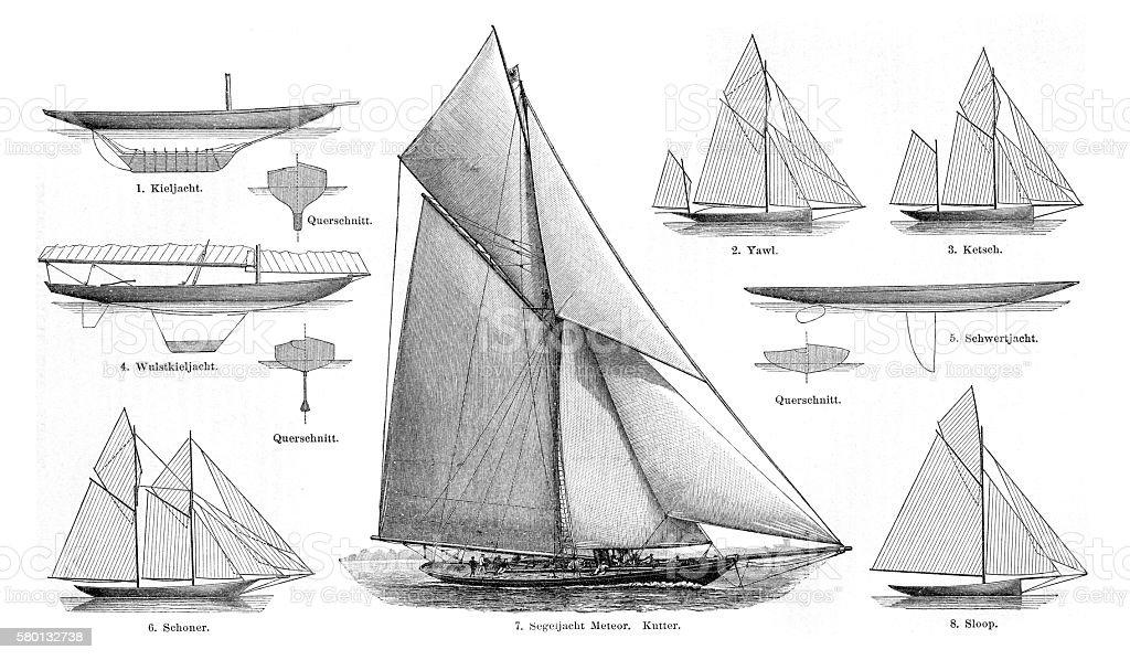 sailboats engraving 1895 vector art illustration