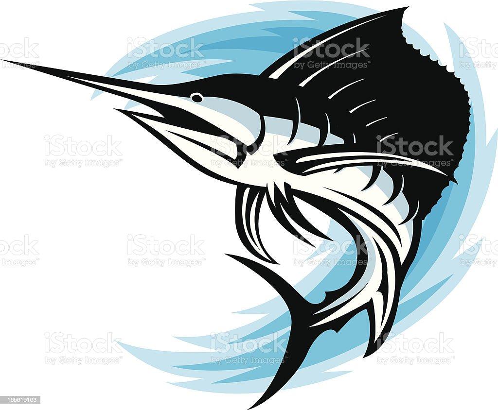 sailfish swoosh vector art illustration