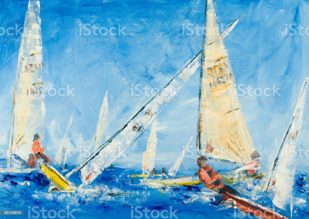 Sailing Dinghys Racing vector art illustration