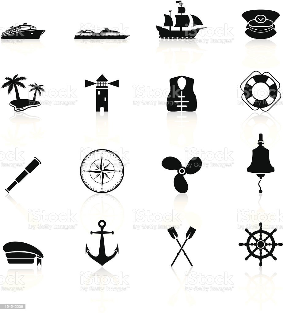 Sailing Icons - Black Series vector art illustration