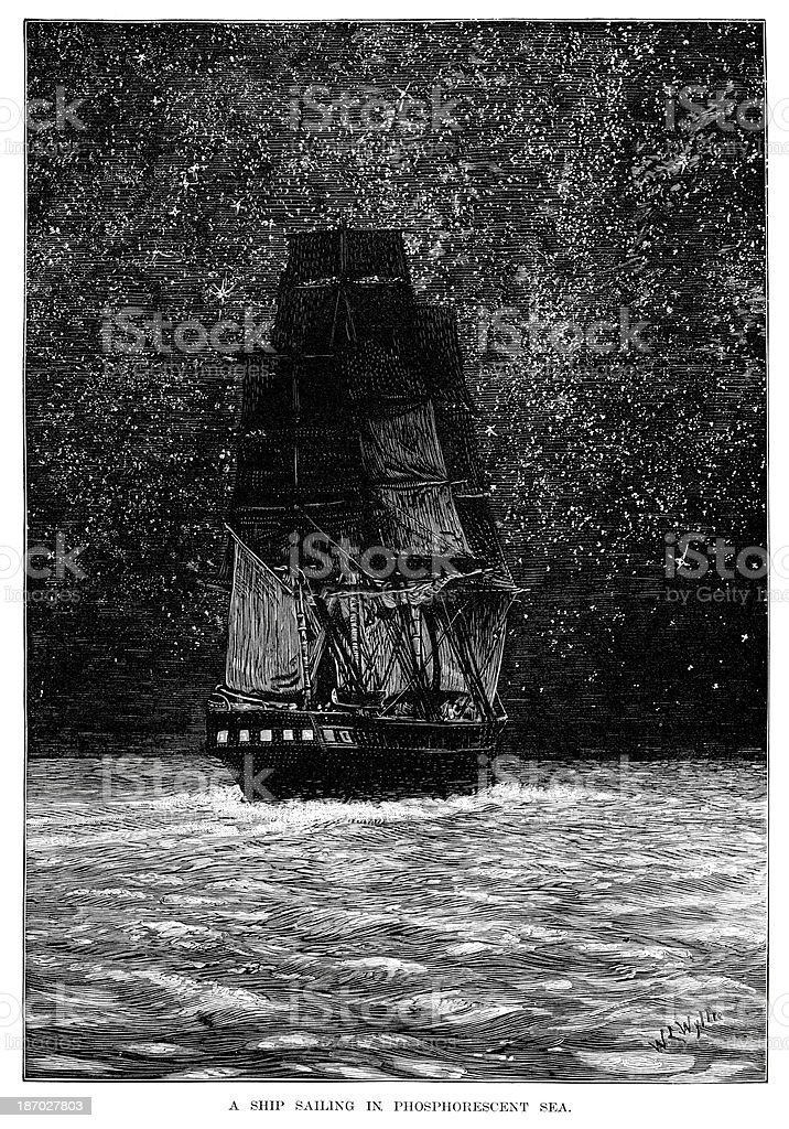 Sailing in a phosphorescent sea royalty-free stock vector art