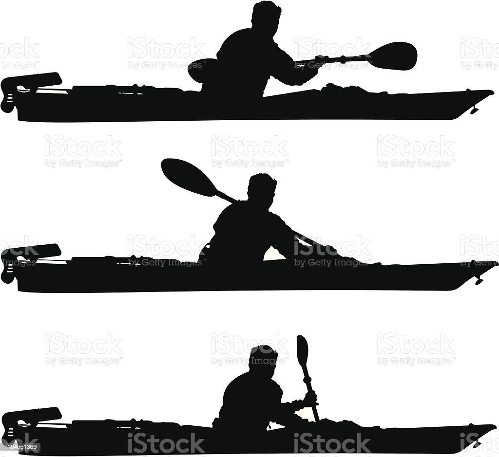 Sailing Kayak Siloute royalty-free stock vector art