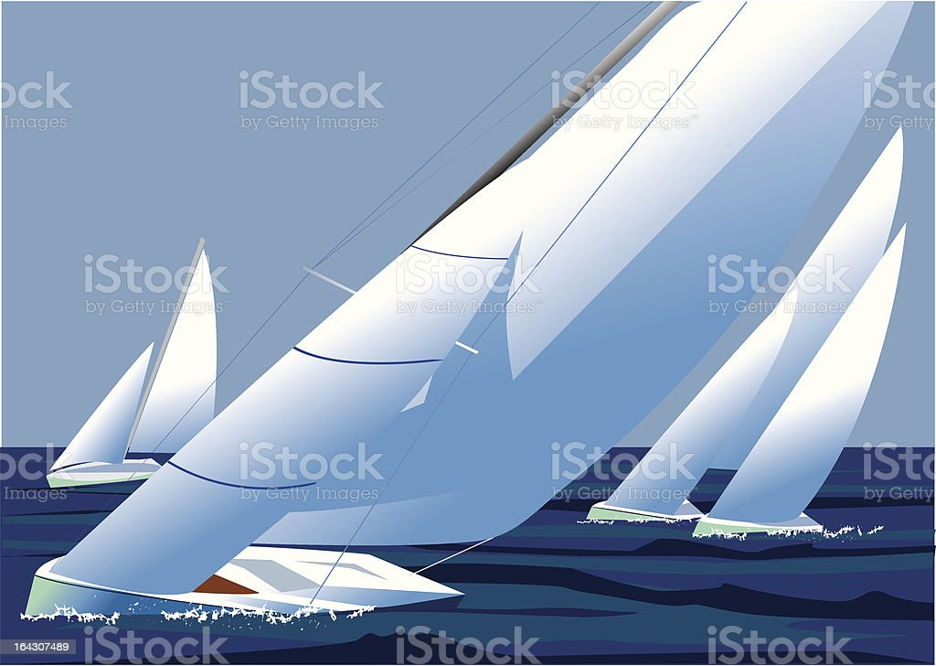 Sailing regatta, yachts with white sails catch the wind vector art illustration