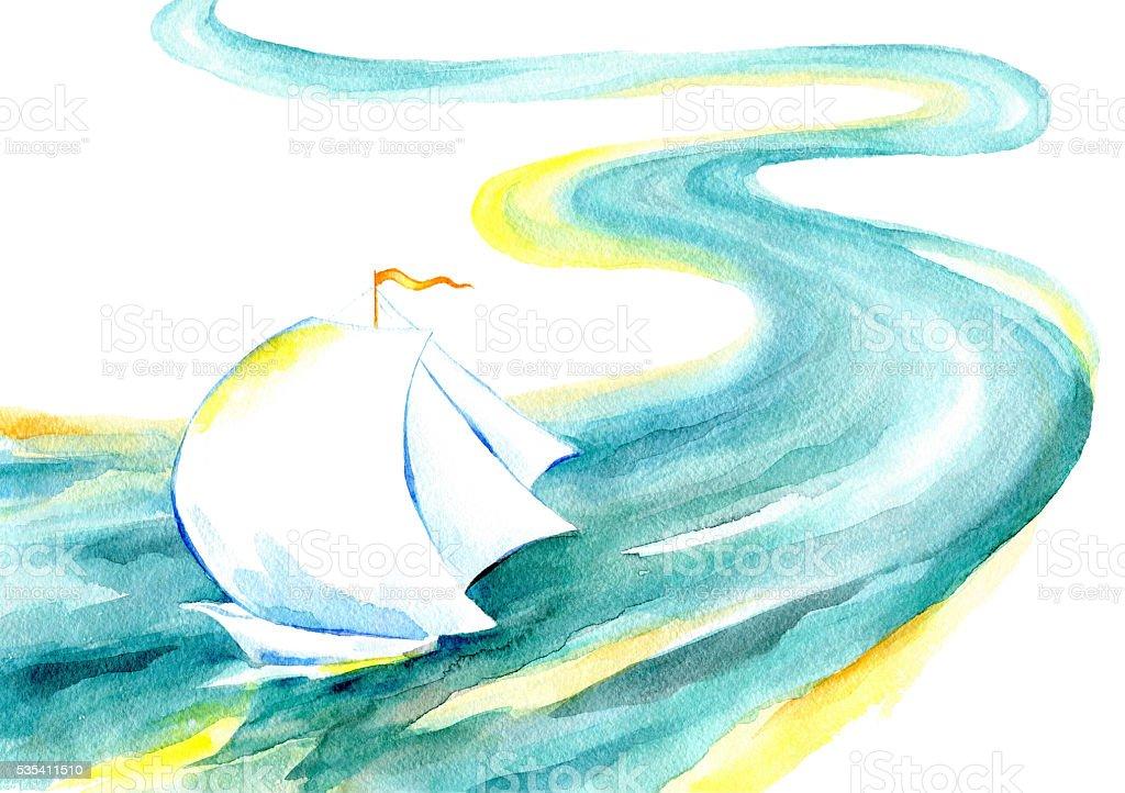 Sailing ship floating on the river vector art illustration