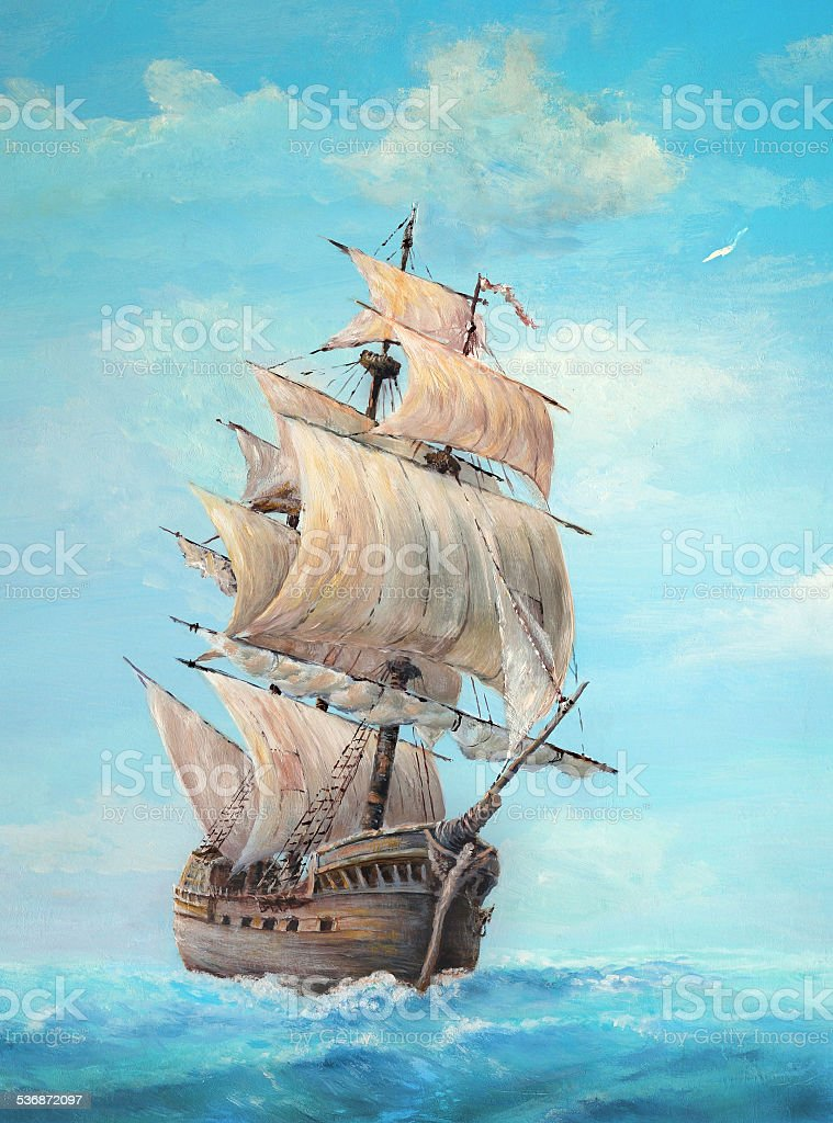 Sailing ship on a clear day, oil painting vector art illustration