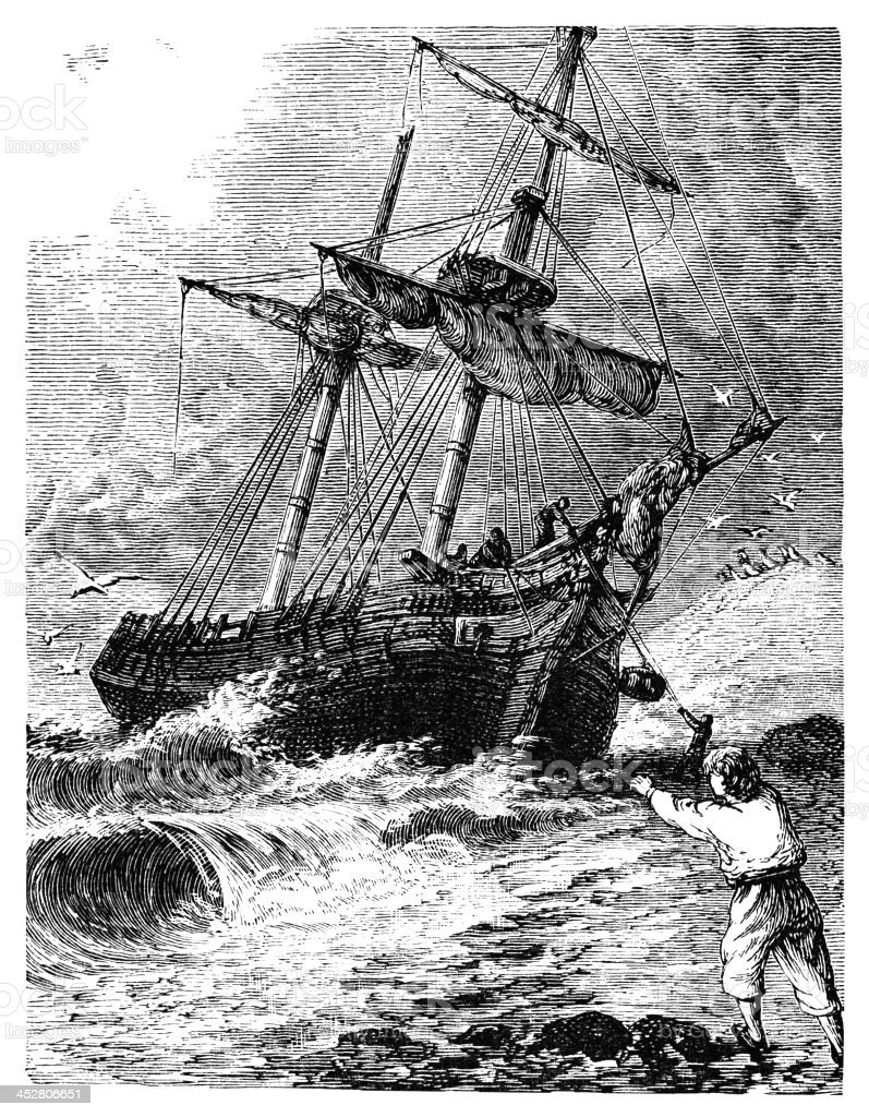 Sailing ship running aground vector art illustration
