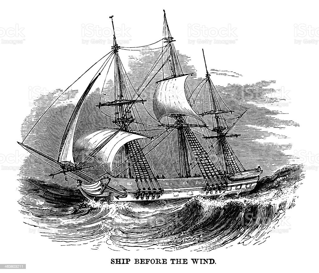 Sailing ship running before the wind vector art illustration