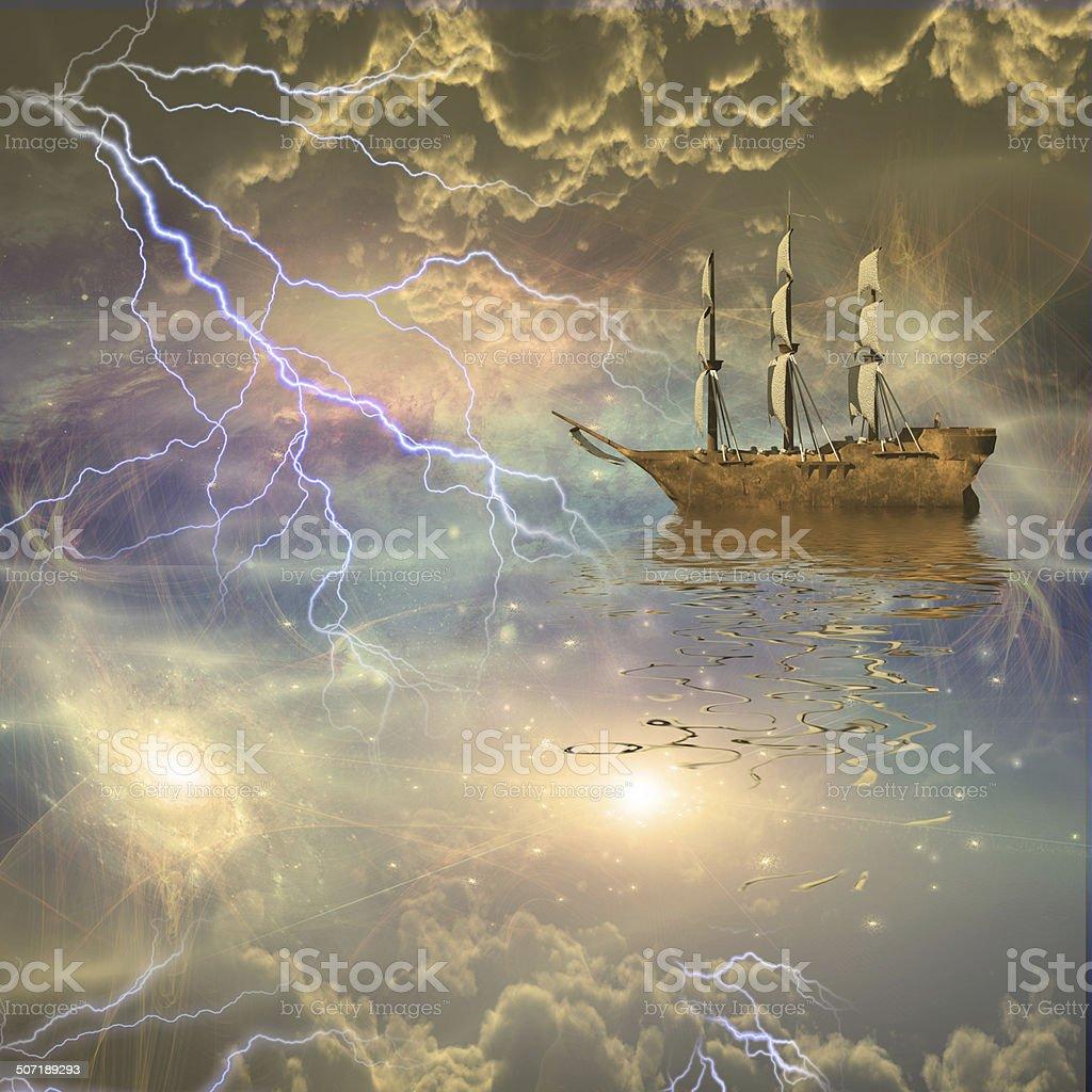 Sailing ship sails through the stars royalty-free stock vector art