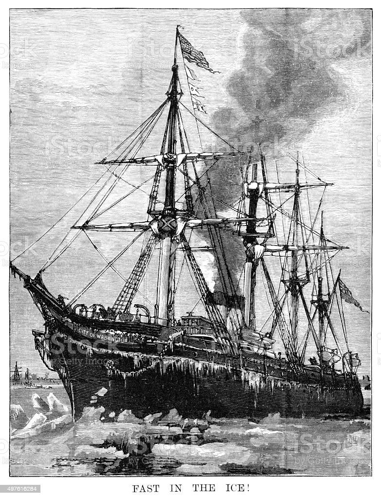 Sailing ship stuck in the ice (Victorian engraving) vector art illustration