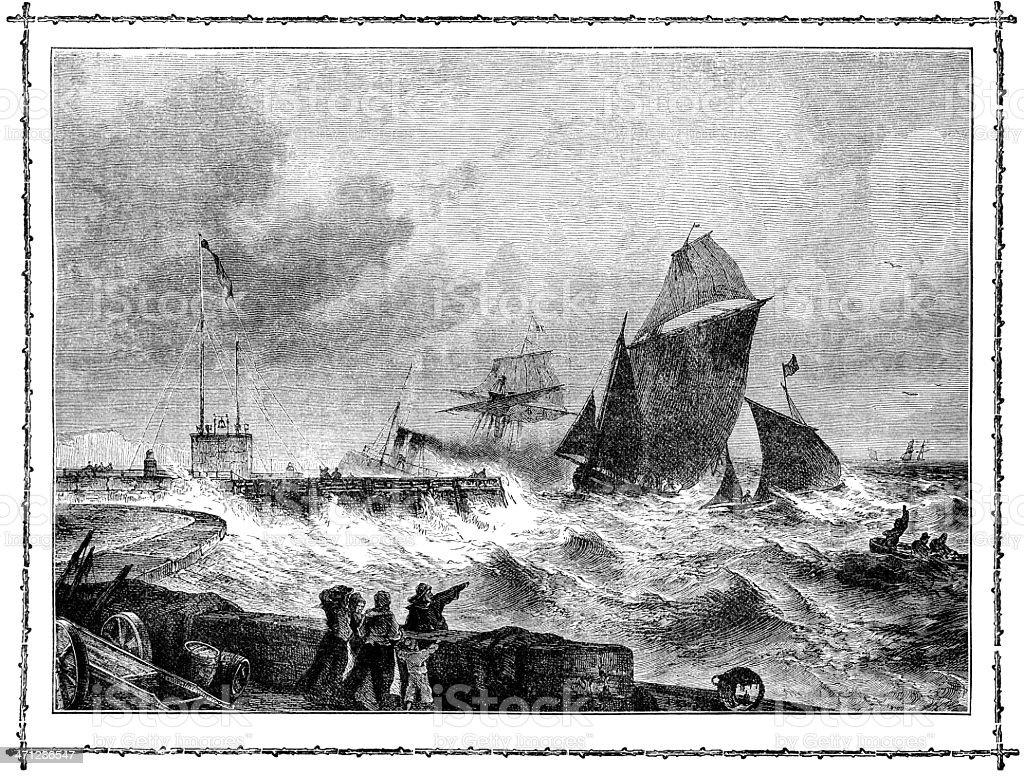 Sailing ships entering Dover Harbour (Victorian illustration) vector art illustration