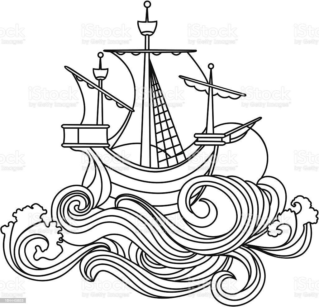 Sailing vessel royalty-free stock vector art