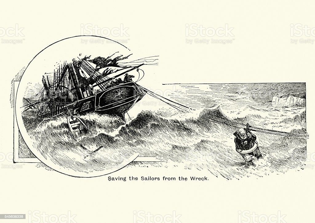 Sailor rescued from a wreck using a line thrower vector art illustration