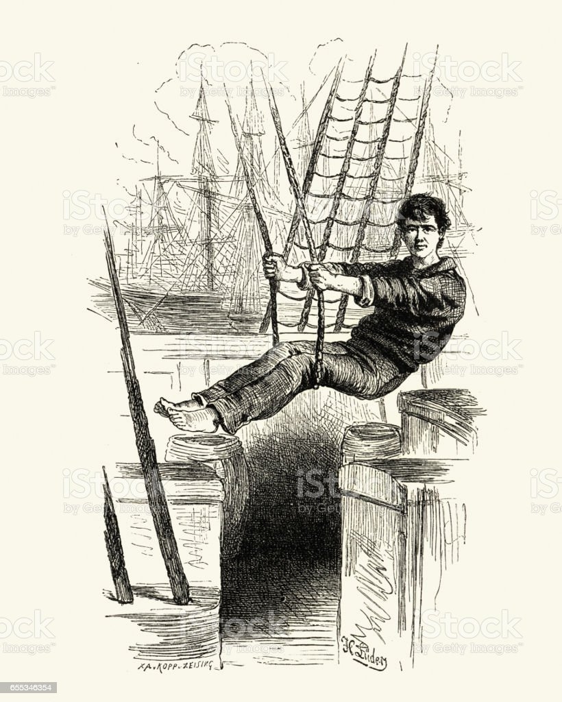 Sailor swinging from the rigging, 19th Century vector art illustration