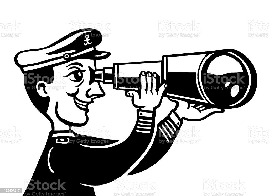 Sailor Using Telescope royalty-free stock vector art