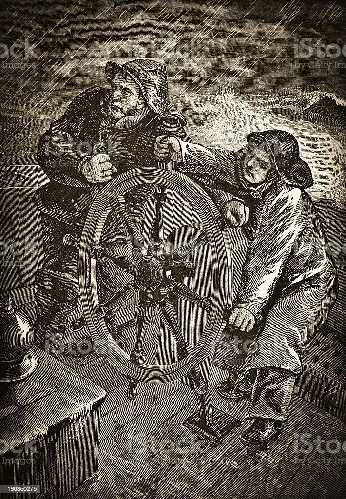 Sailors at Sea - Victorian Steel Engraving royalty-free stock vector art