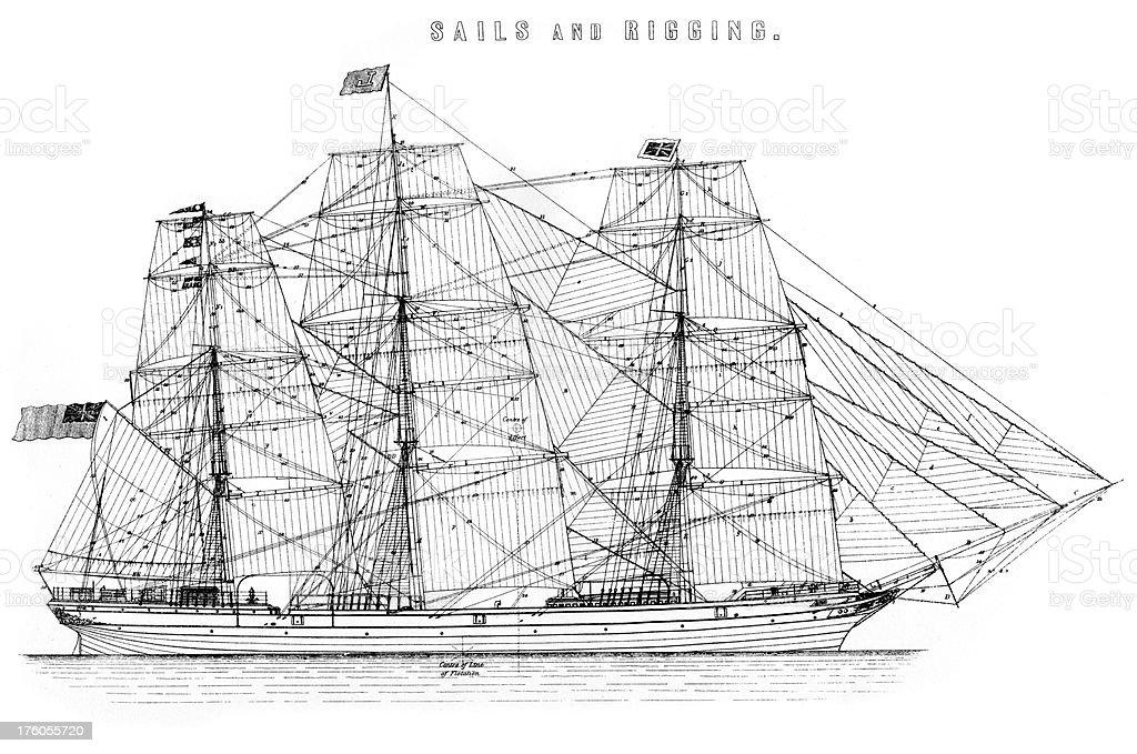 Sails and rigging of a vintage sailing ship royalty-free stock vector art