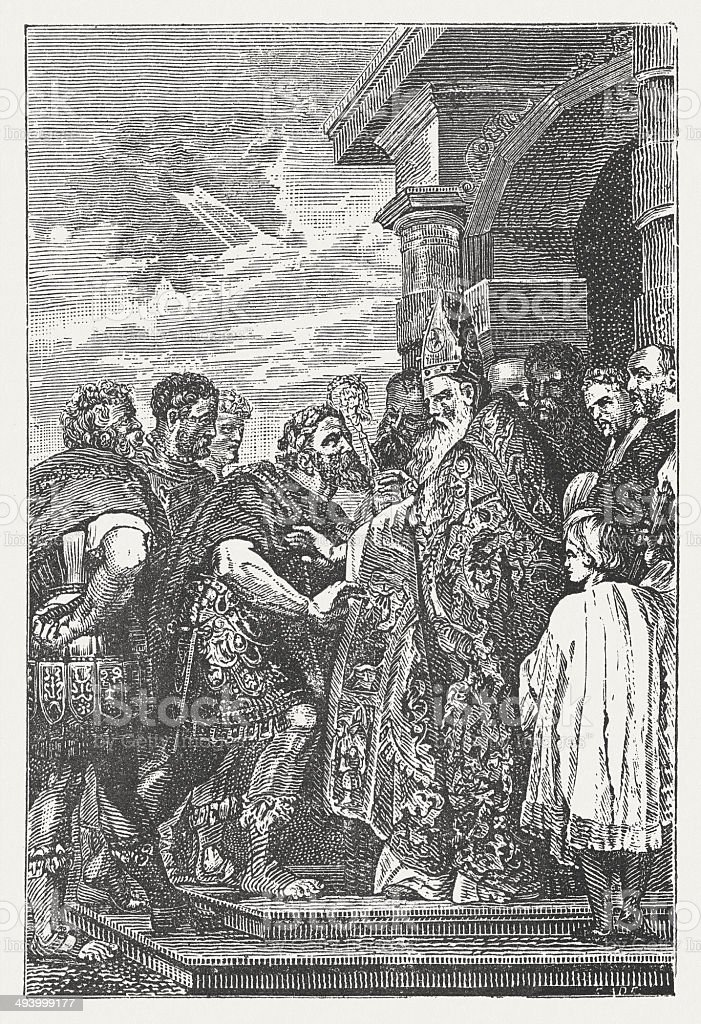 Saint Ambrose and the Emperor Theodosius, by Rubens, published 1881 vector art illustration