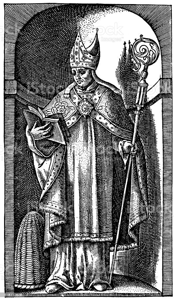 Saint Ambrose - Bishop Of Milan In The 4th Century vector art illustration