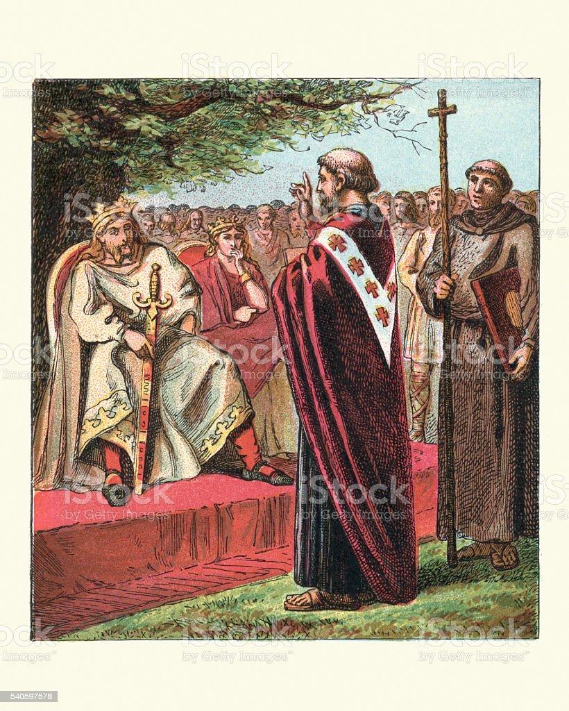 Saint Augustine and the Saxon vector art illustration