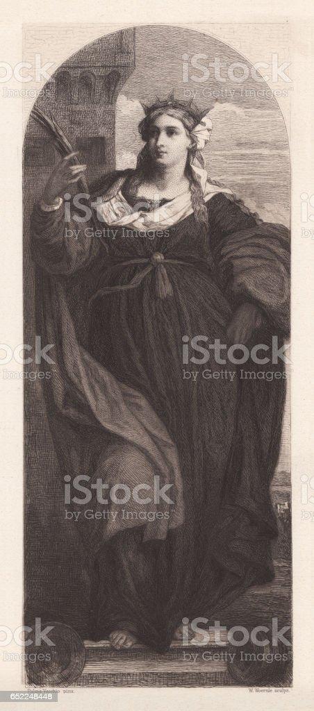 Saint Barbara, painted (1510) by Palma Vecchio, Venice, published 1884 vector art illustration