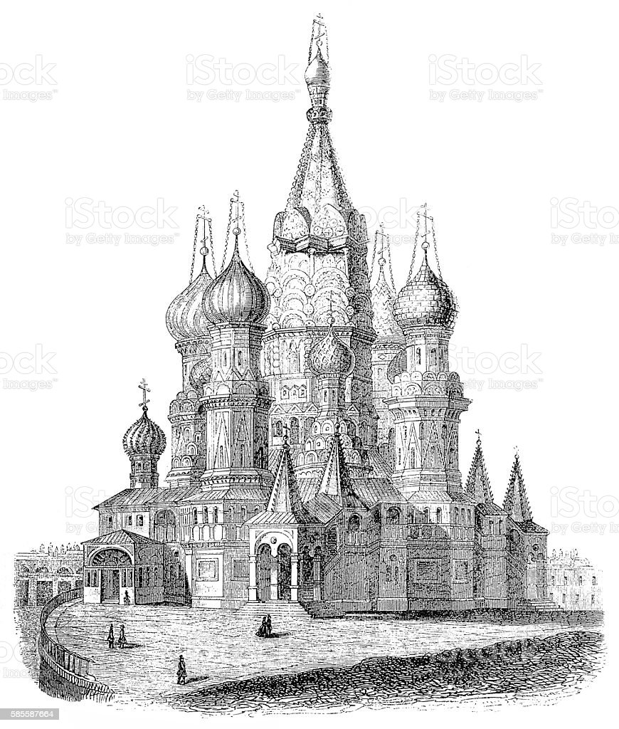 Saint Basil's Cathedral, in Moscow, Russia vector art illustration
