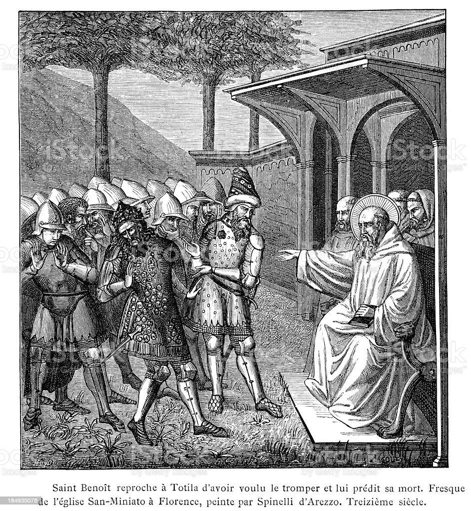 Saint Benedict and Totila royalty-free stock vector art