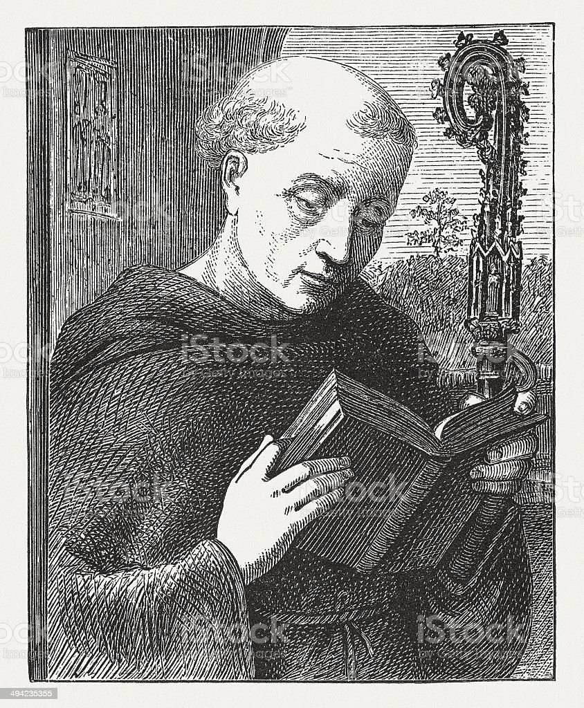 Saint Benedict (c.480-543 or 547), wood engraving, published in 1881 royalty-free stock vector art