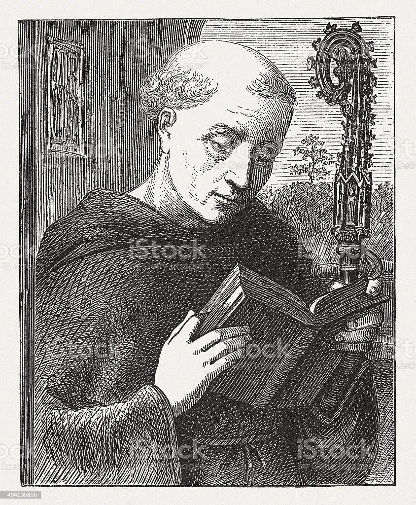Saint Benedict (c.480-543 or 547), wood engraving, published in 1881 vector art illustration