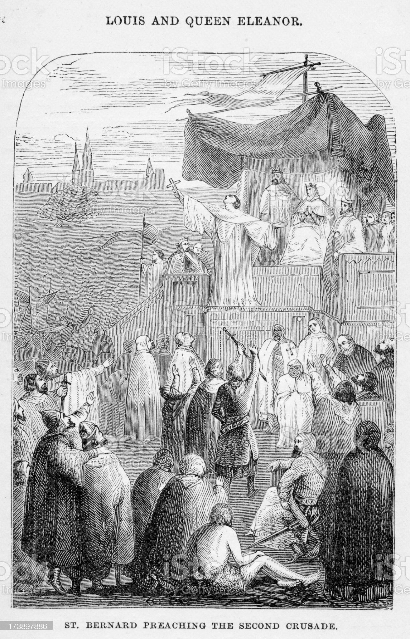 Saint Bernard preaching the Second Crusade royalty-free stock vector art