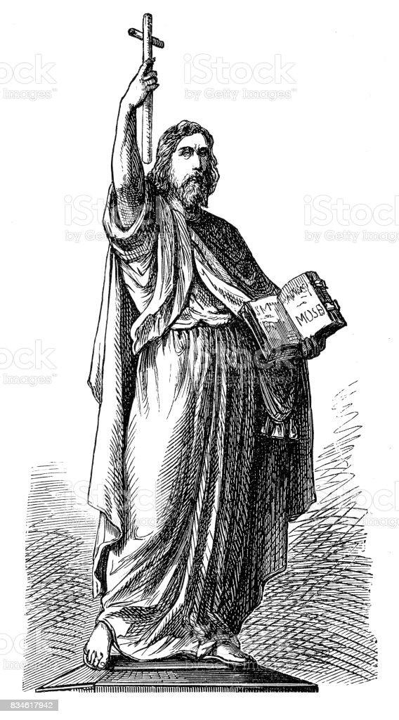 Saint Boniface (c.672-754) vector art illustration