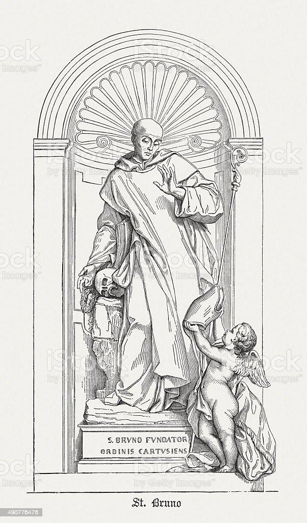 Saint Bruno (1035 - 1101), published in 1878 vector art illustration