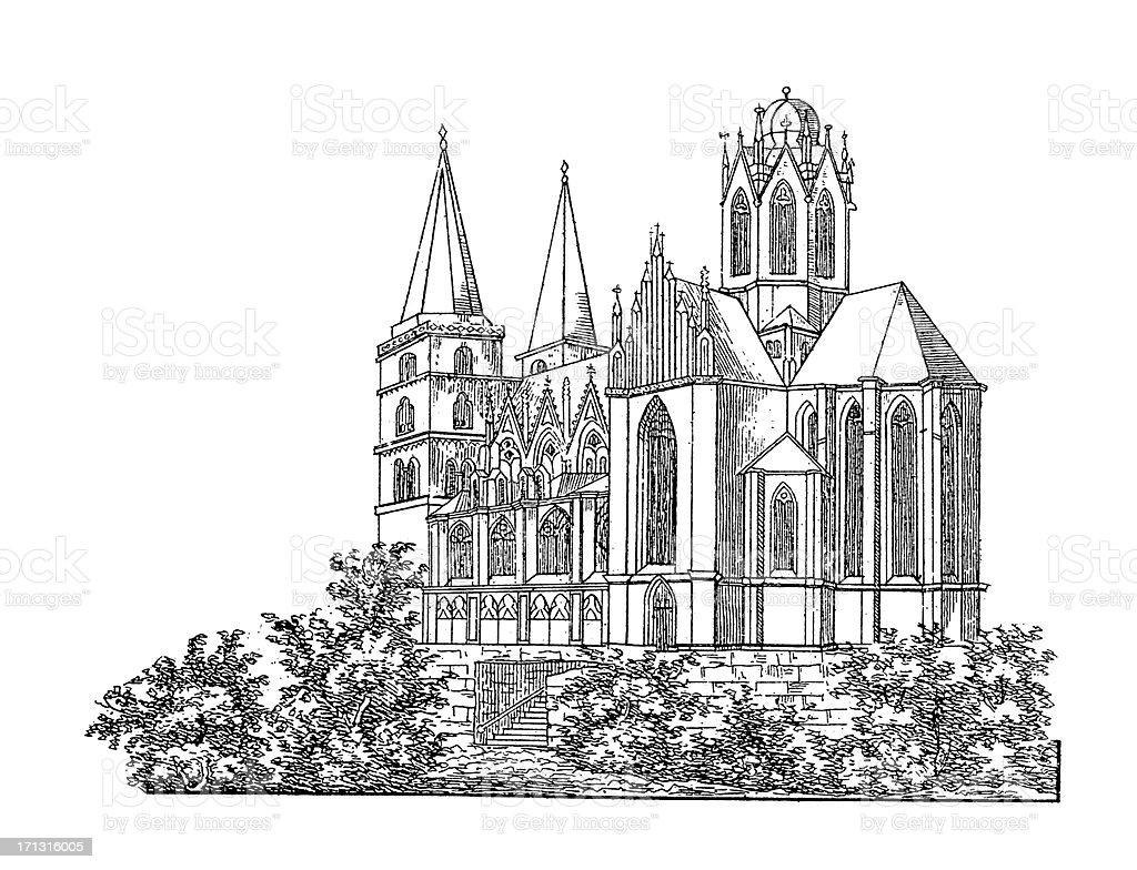 Saint Catherine Church in Oppenheim, Germany royalty-free stock vector art