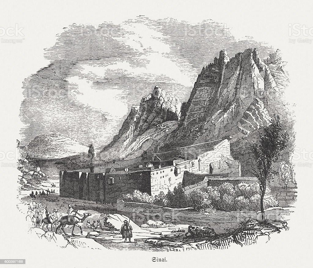 Saint Catherine's Monastery, Sinai, Egypt, wood engraving, published in 1855 vector art illustration