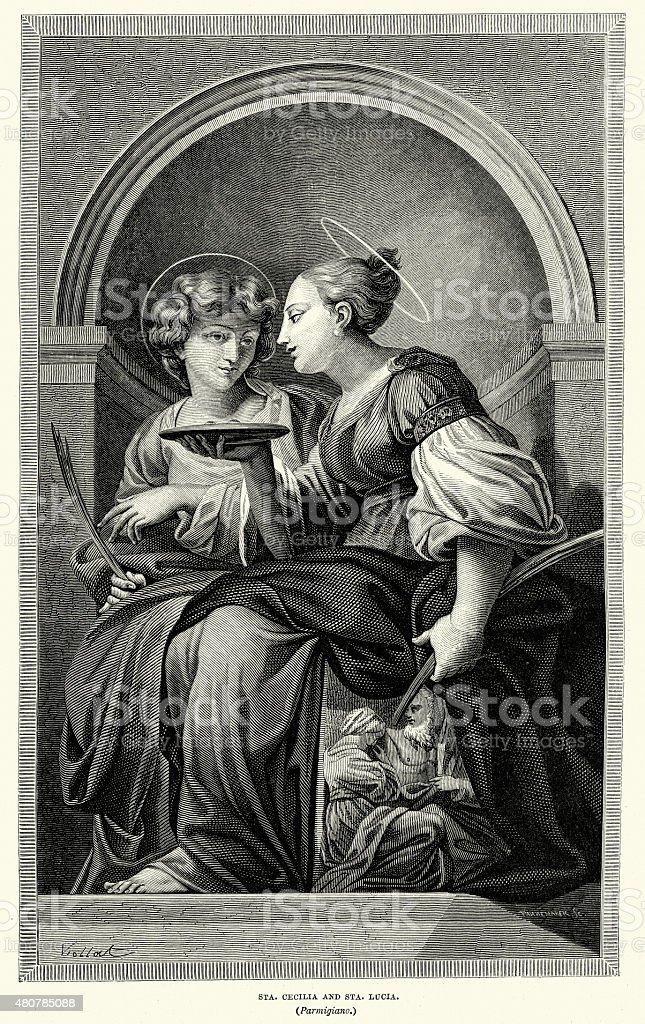 Saint Cecilla and St Lucia vector art illustration
