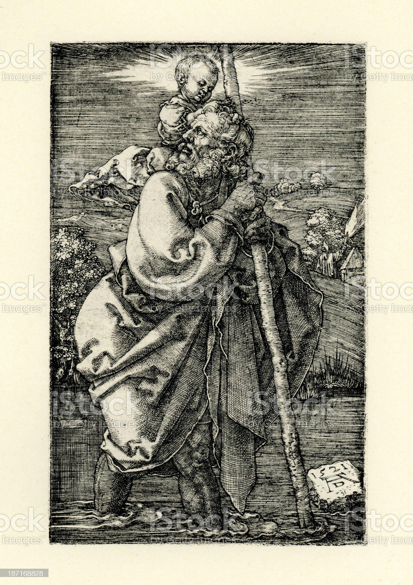 Saint Christopher royalty-free stock vector art