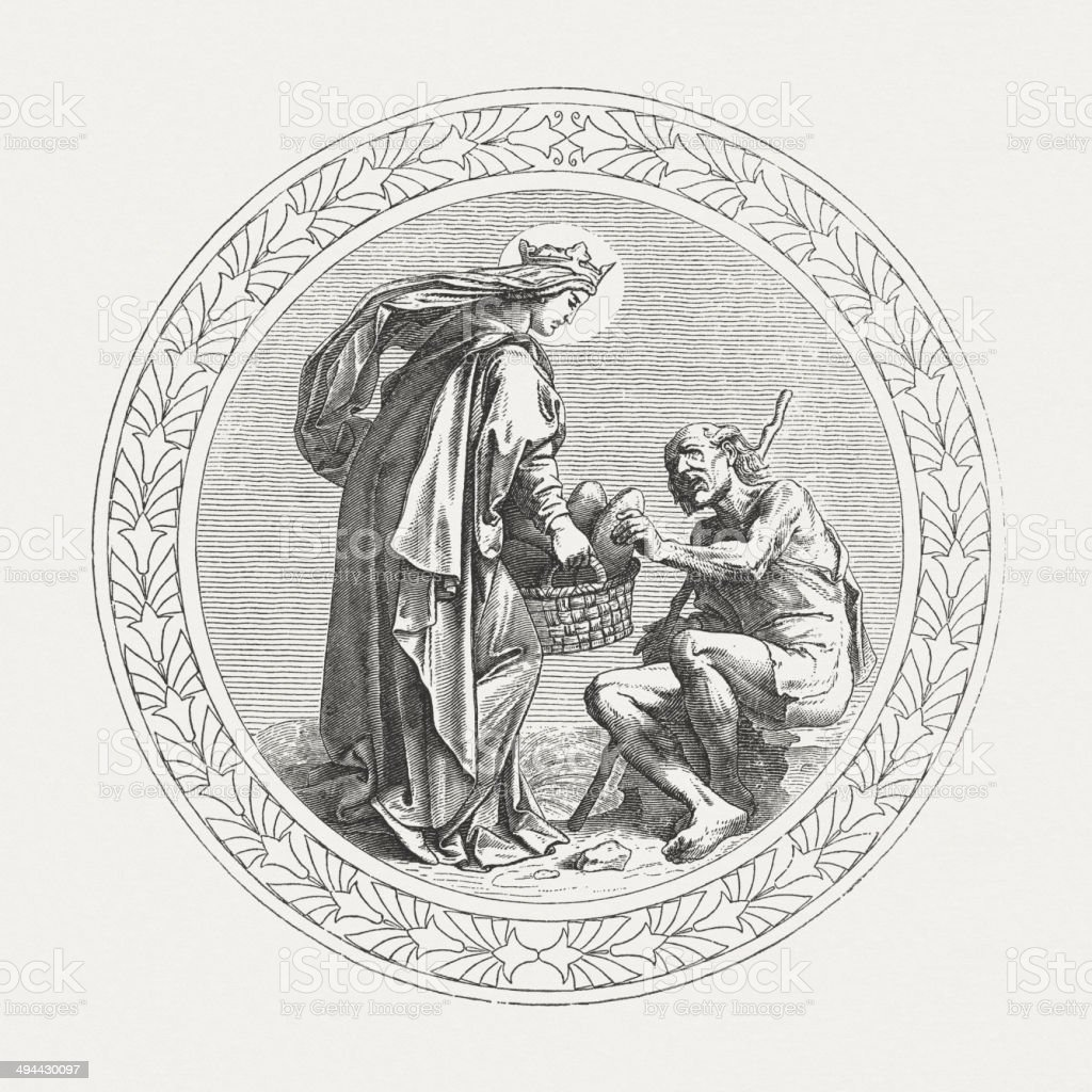 Saint Elizabeth (1207-1231) feed the hungry, wood engraving, published 1881 royalty-free stock vector art
