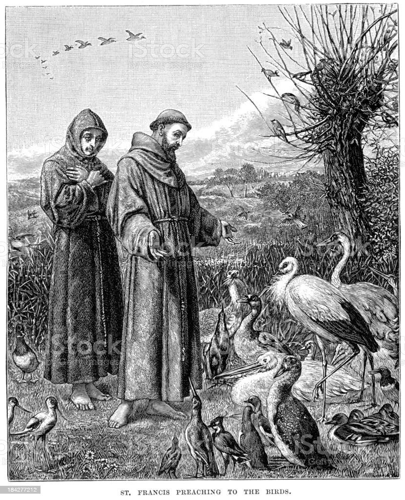 Saint Francis preaching to the Birds royalty-free stock vector art