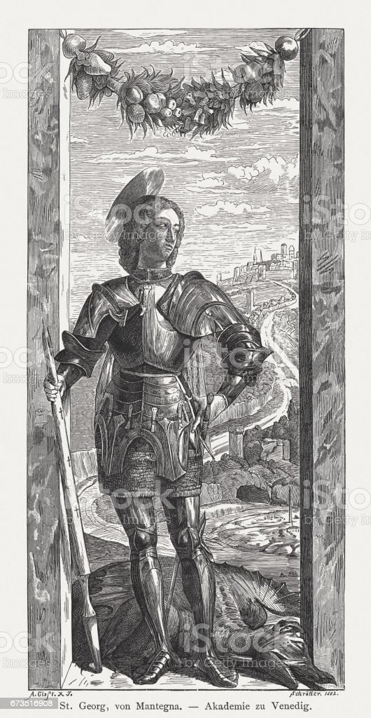 Saint George, painted (c.1460) by Andrea Mantegna, Venice, Italy vector art illustration