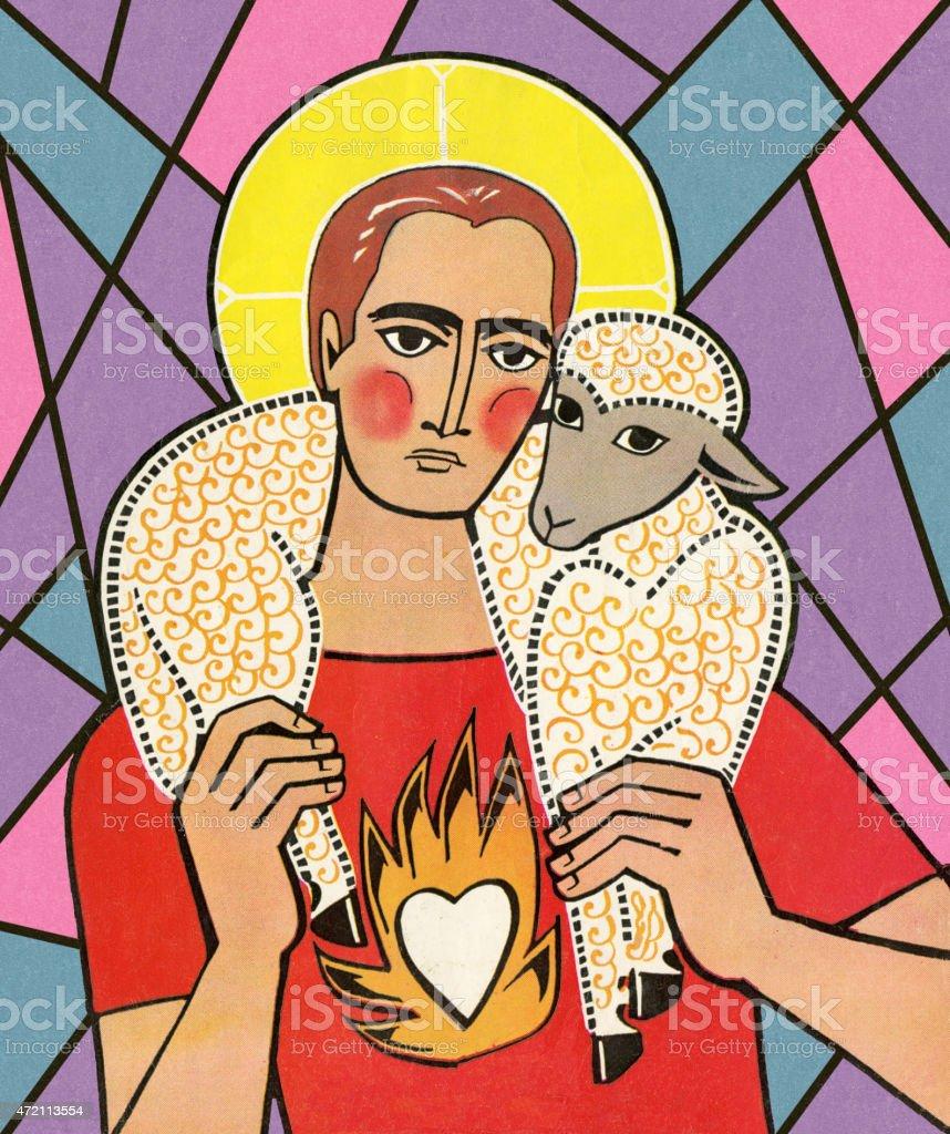 Saint Holding Sheep vector art illustration