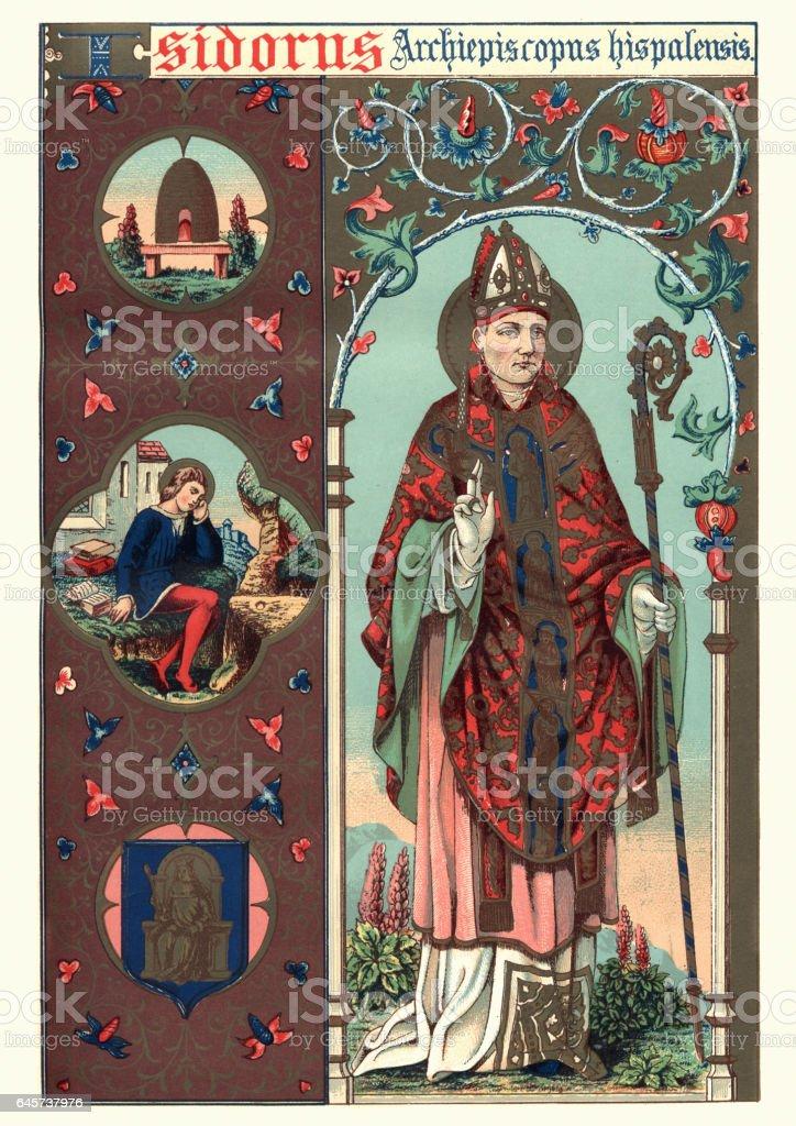 Saint Isidore of Seville vector art illustration