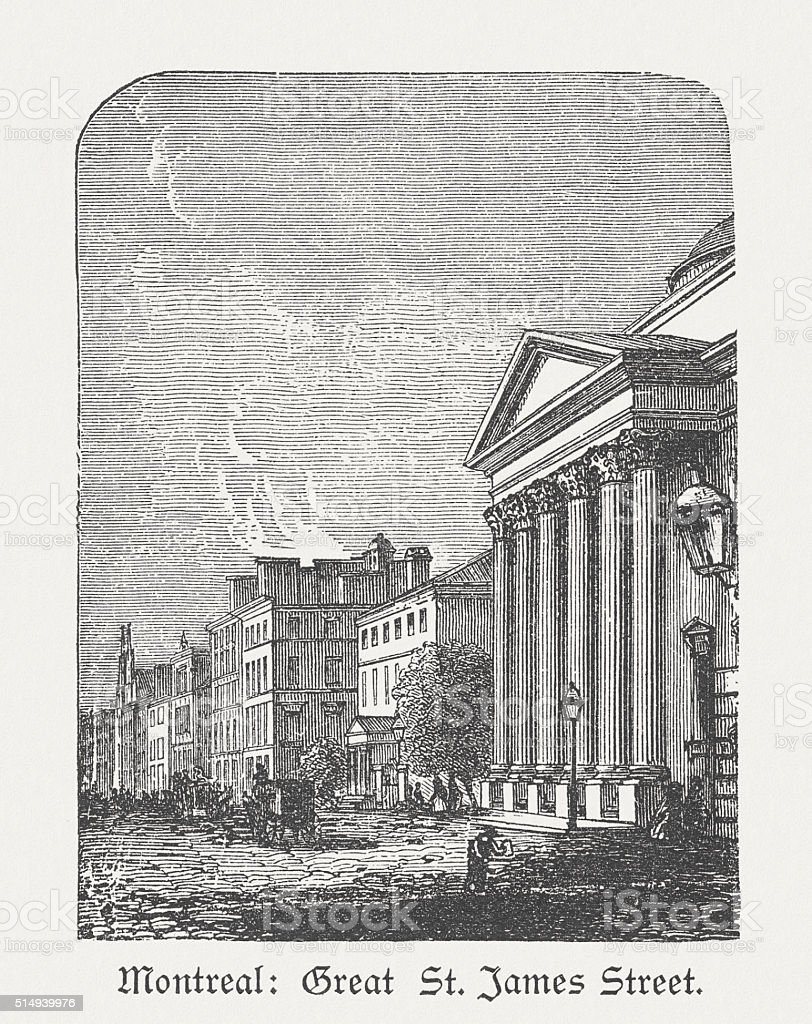 Saint Jacques Street in Montreal, Canada, wood engraving, published 1880 vector art illustration