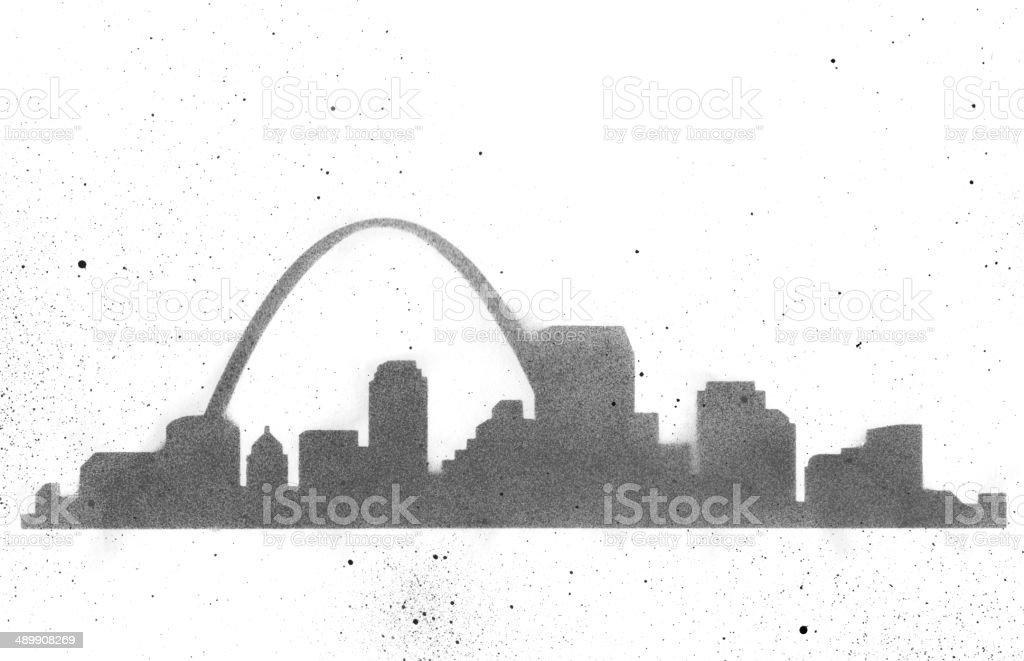 Saint Louis Skyline Stencil vector art illustration
