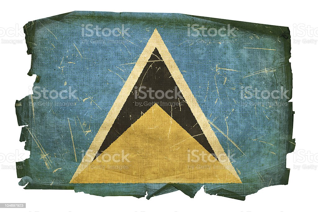 Saint Lucia flag old, isolated on white background vector art illustration