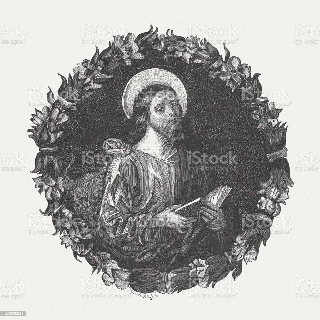 Saint Luke, painted by Pinturicchio, Santa Maria degli Angeli, Perugia vector art illustration