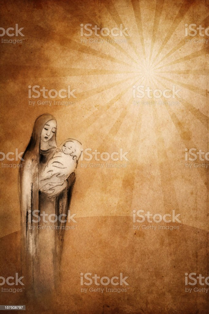 Saint Mary with the Baby Jesus vector art illustration