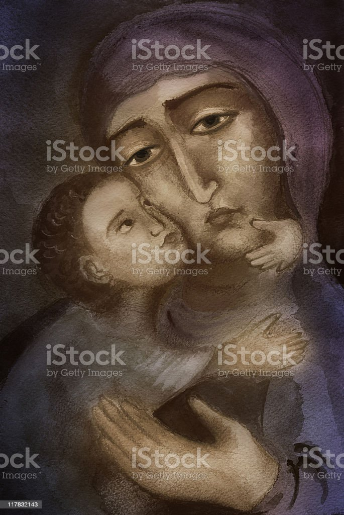 Saint Mary with the Child Jesus royalty-free stock vector art