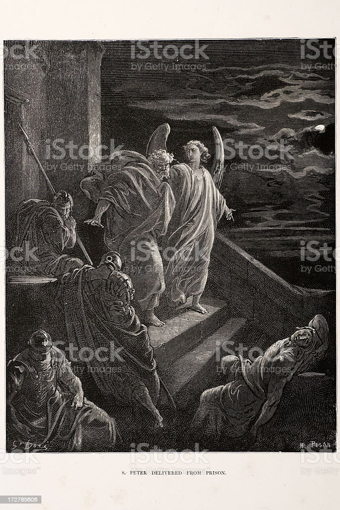 Saint Peter Delivered from Prison royalty-free stock vector art