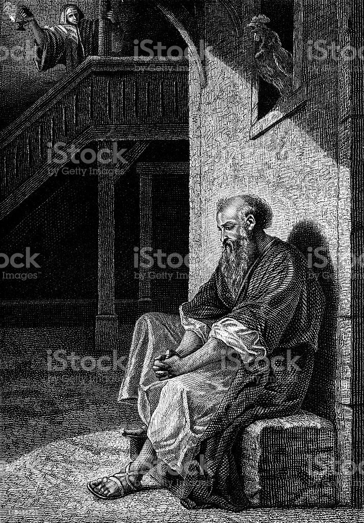 Saint Peter Feels Shame as Rooster Crows royalty-free stock vector art