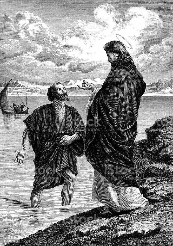 Saint Peter Leaps from his Boat to Meet Jesus Christ royalty-free stock vector art